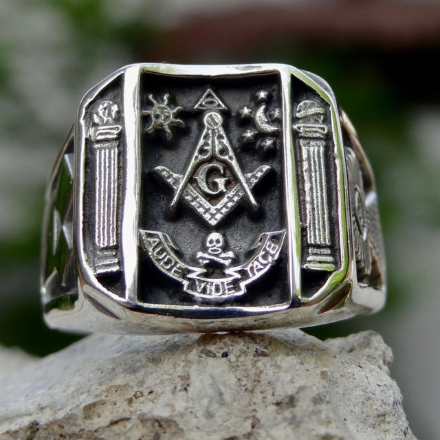 Vintage Sun Stars Skull Rings for Men Steam Punk AG Masonic Freemasonry Men's Rings Party Jewelry Gift