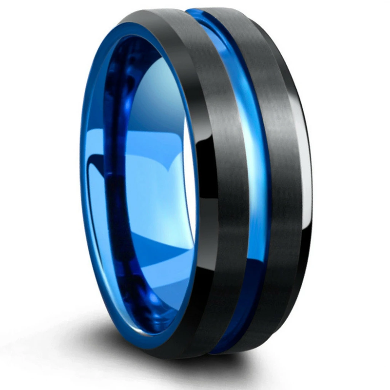 FDLK   8MM Men's Black Stainless Steel Ring Blue Red Groove Beveled Edge Wedding Engagement Anniversary Ring Jewelry For Men preview-3