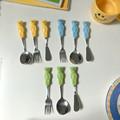 Cute Bear Spoon Fork Ceramic Dessert Spoons Dinnerware Cutleries Cartoon Spoon Fork Butter Kinfe Set preview-1