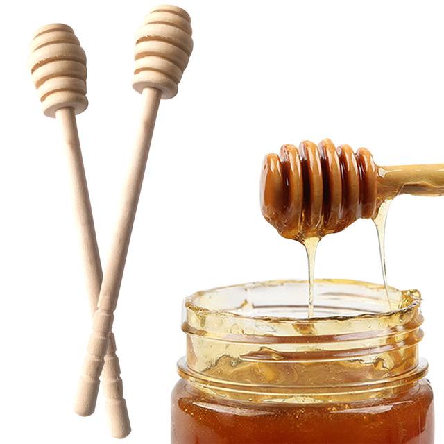 2PCS Long Handle Wood Honey Stir Bar Practical Honey Mixing Stick Jar Spoon Supplies For Coffee Milk Tea Kitchen Tool