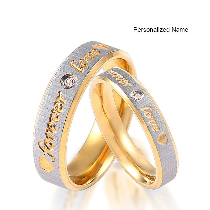 RIR Custom Name Gold Forever Love Wedding Rings Couple Eternity Engagement Heart and Crystal Men Women Ring In Stainless Steel