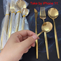 24pcs Gold Dinnerware Set Stainless Steel Tableware Set Knife Fork Spoon Flatware Set Cutlery Set Bright light preview-4