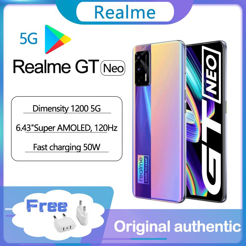 "Original realme GT Neo 5G smart phone  6.43""120Hz Super AMOLED MTK Deminsty 1200 50W 4500mAh Fast Charge 64MP Camera Global ROM"