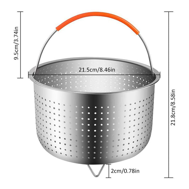 Stainless Steel Kitchen Steam Basket Pressure Cooker Anti-scald Steamer Multi-Function Fruit Cleaning Basket Cookeo Accessories