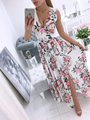 Women Summer Sleeveless Chiffon Maxi Dress Sexy Deep V Neck Floral Print Split Elegant Party Robe Longue  шифоновое платье 2021 preview-5