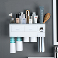 Magnetic Adsorption Inverted Toothbrush Holder Automatic Toothpaste Dispenser With Cup Toothpaste Bathroom Accessories Set preview-2