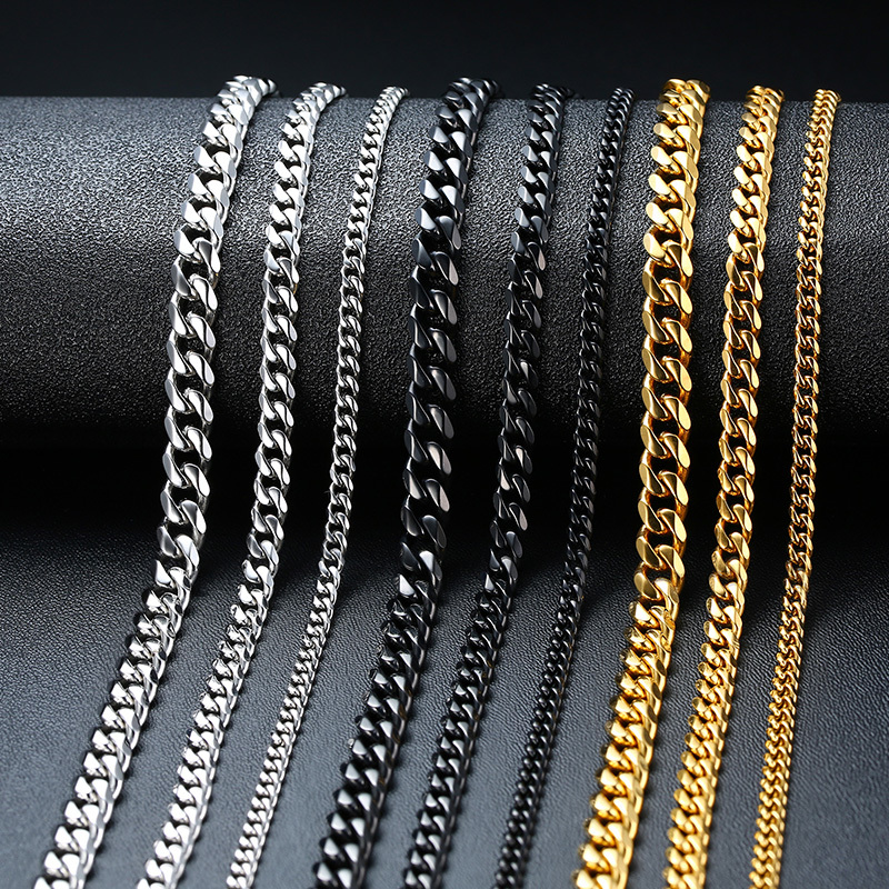 Vnox Cuban Chain Necklace for Men Women, Basic Punk Stainless Steel Curb Link Chain Chokers,Vintage Gold Tone Solid Metal Collar