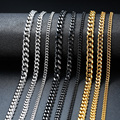 Vnox Cuban Chain Necklace for Men Women, Basic Punk Stainless Steel Curb Link Chain Chokers,Vintage Gold Tone Solid Metal Collar preview-1