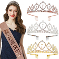 Birthday Party Decoration 18 21 30 40 50 Rose Gold Satin Sash Crystal Crown Tiara Happy Birthday Anniversary Party Supplies preview-6