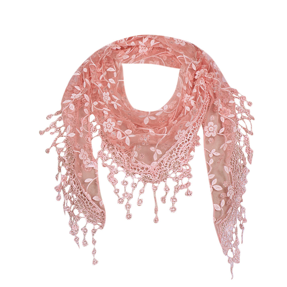 Women Lace Sheer Floral Knit Veil Scarf Hollow Out Crochet Shawl Wraps Tassels Scarves Party Evening Wrap Scarf Ladies New