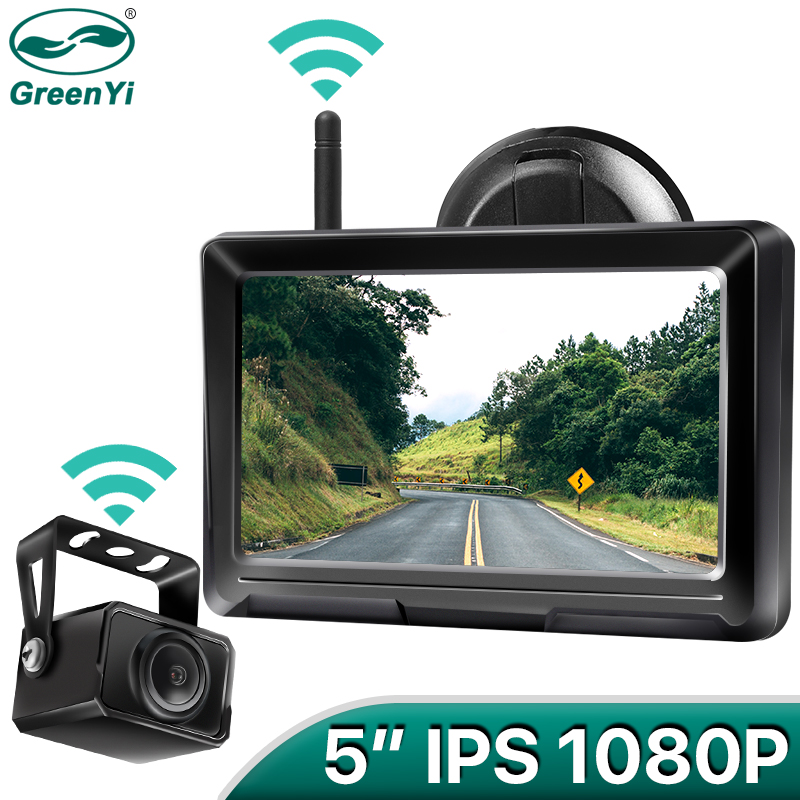 GreenYi 1080P Wireless IPS 5 Inch Car Monitor Rear View Reverse Camera Driving Kit with Stable Digital Signal Auto Parking