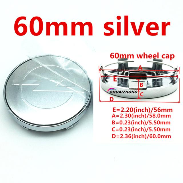 4pcs 60mm Silver