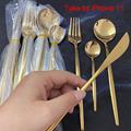 24pcs Gold Dinnerware Set Stainless Steel Tableware Set Knife Fork Spoon Flatware Set Cutlery Set Bright light preview-5
