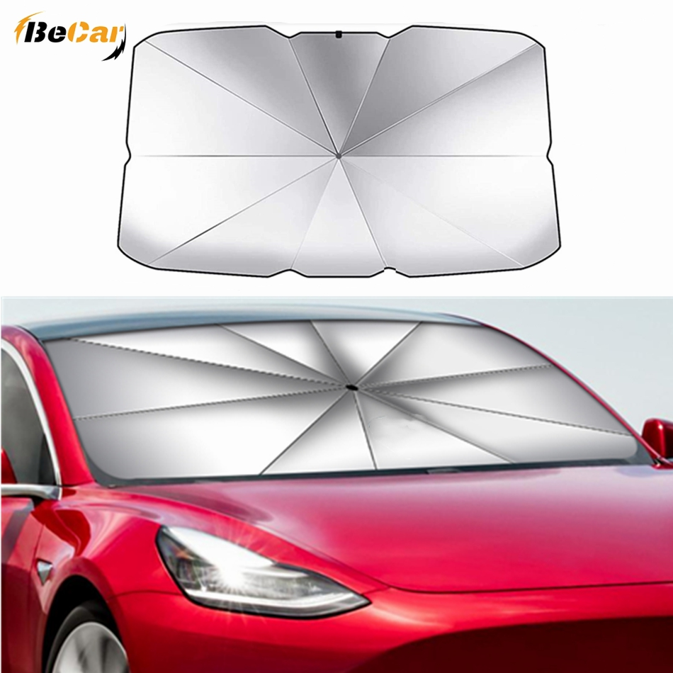Upgrade Foldable Car Sunshade Windshield Umbrella For Tesla Model 3 Model Y Model S Model X Front Window Sun Shade Screen