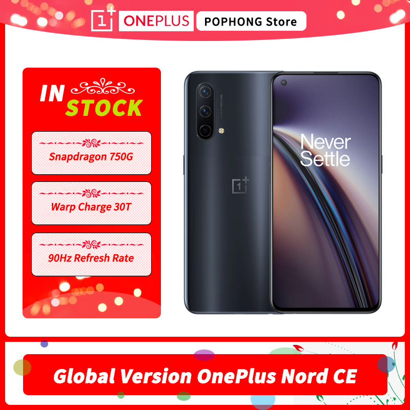 Global Version OnePlus Nord CE 5G MobilePhone 6.43 Inch AMOLED 90Hz Fluid Snapdragon 750G 5G Octa Core 64MP Triple Camera