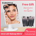 LED Makeup Mirror Illuminated Cosmetic Table Mirror With Light for Make Up Adjustable Light 16/22 Touch Screen Eyelash Brush preview-1