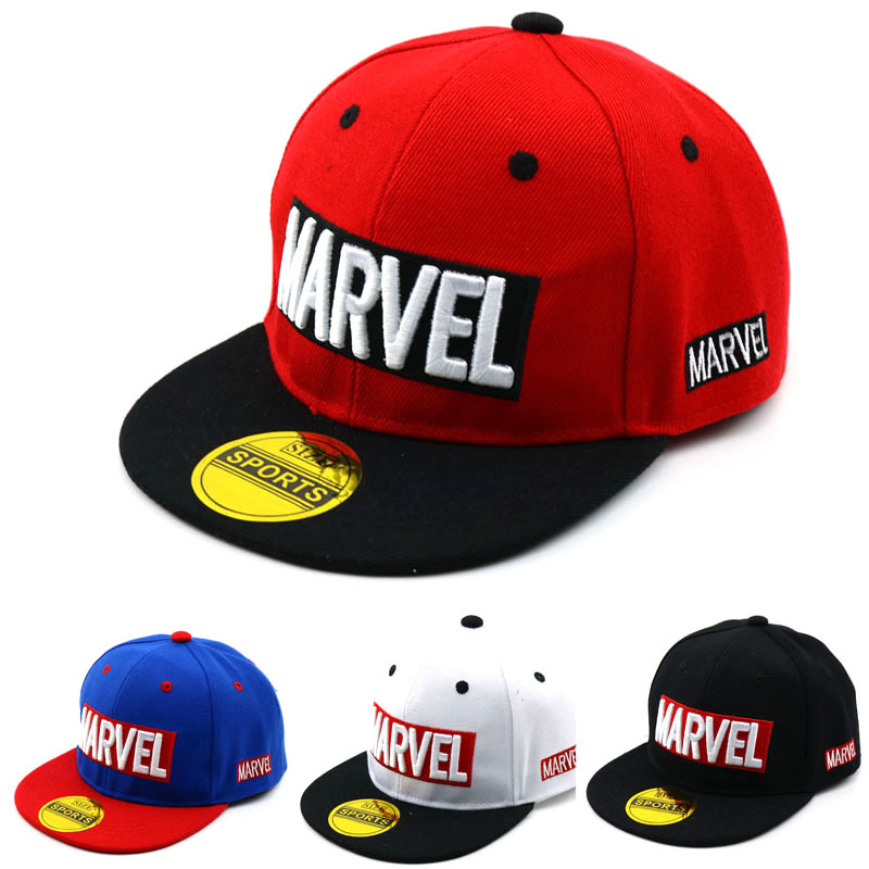 Cool Marvel LOGO Kid's Baseball Cap Avengers 2021 Spiderman Captain American Flat brim Hat Boys Girls Baby Children Caps