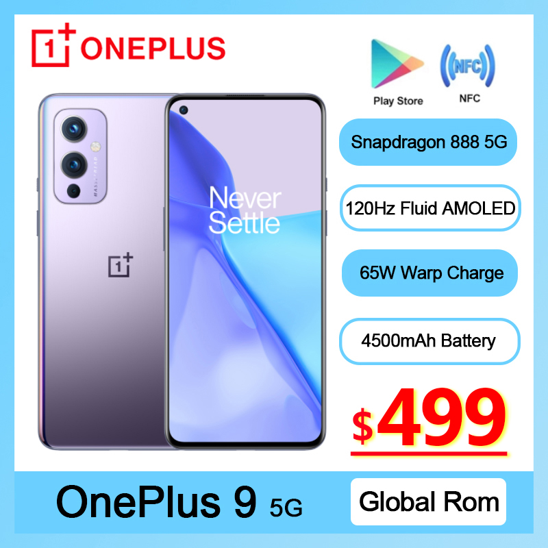 Global Rom OnePlus 9 5G Smartphone Snapdragon 888 Android 11 6.55'' 4500 mAh 120Hz Fluid AMOLED NFC Oneplus9 Mobile Phone