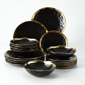 18pc Set Cutlery Plate Tray Set Luxury Black Dinnerware Kitchen Tool Porcelain Dinner Gold Soap Ceramic Food Dessert Plate Bowl preview-1