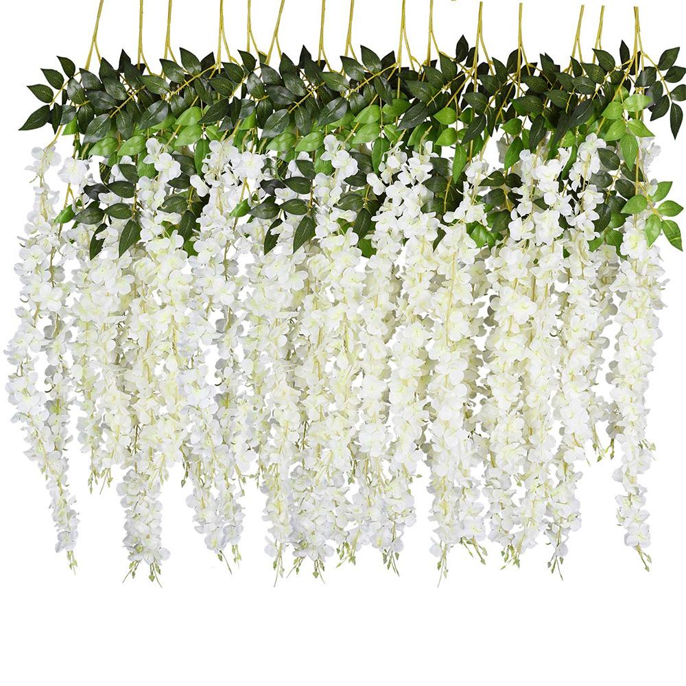 Artificial Silk Wisteria Vine Ratta Silk Hanging Flower Wedding Decor, 12 Pcs Fake Flowers Home Wall Garden Decoration