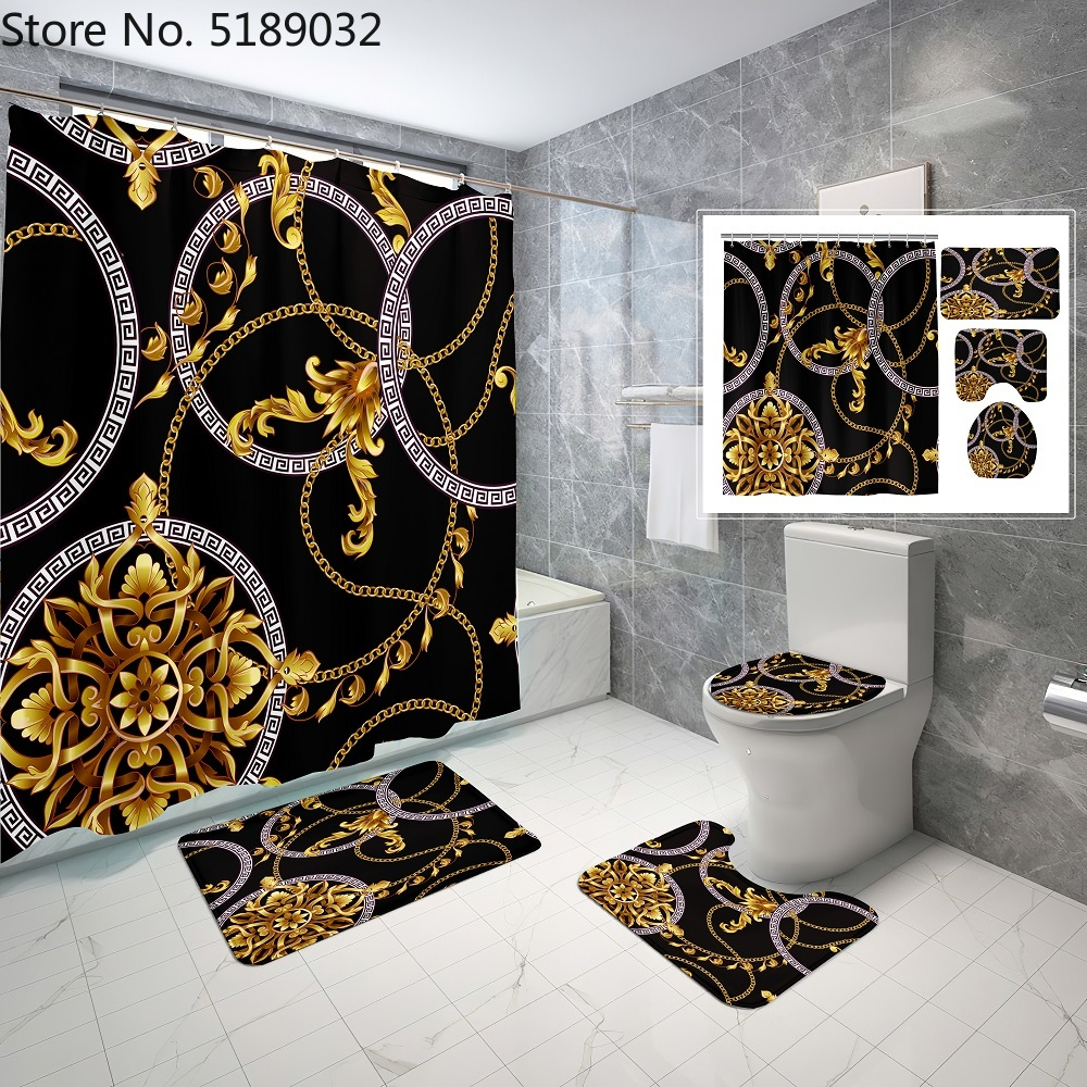 4 Pieces Hollow Shape Pattern Shower Curtain Sets with Bath Rug Toilet Cover Floor Mat Waterproof Bath Curtain Vintage Style