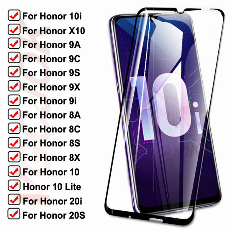 15D Tempered Glass For Huawei honor 10i 9i 20i 20S X10 Protective Glass Honor 10 Lite 8A 8X 8S 8C 9A 9X 9C 9S Screen Safety Film