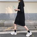 T-shirt Dress for Women Summer 2021 New Korean Style Loose Polo Collar Small Student Mid-Length Dress Ins preview-5