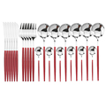 24Pcs Red Silver