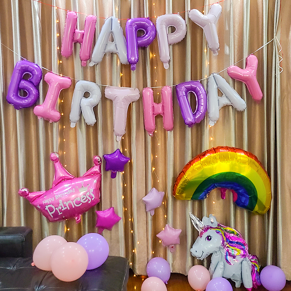 Happy Birthday Balloons Set for Kids Girl Boy Wife Women Balloon Home Decorations Party Supplies Baby Shower