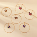 Beautiful Double Butterfly Earrings European Summer Girls Multicolor Big Round Circle Gold Hoop Earrings 11.11 Jewelry For Women preview-2