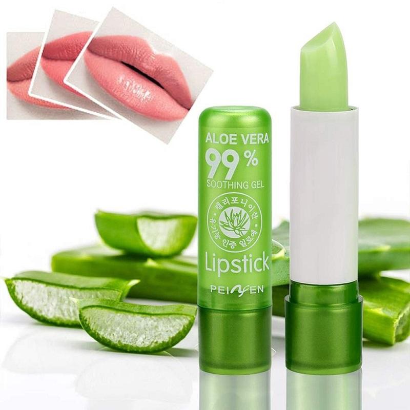 1PC Moisture Lip Balm Long-Lasting Natural Aloe Vera Lipstick Color Mood Changing Long Lasting Moisturizing Lipstick Anti Aging