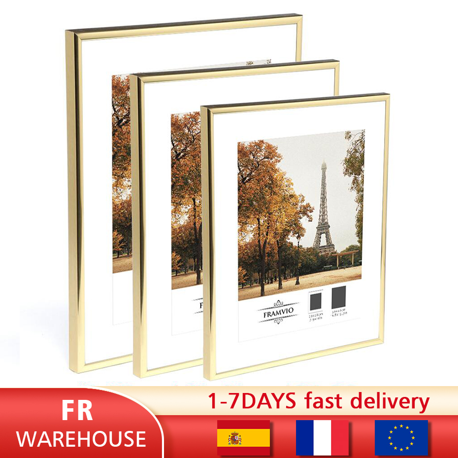 Modern Gold Aluminum Photo Pictures Frames 40x50 30x40cm A4 21x30 cm Wall Mounting with Mat for Poster Canvas Prints Home Decor