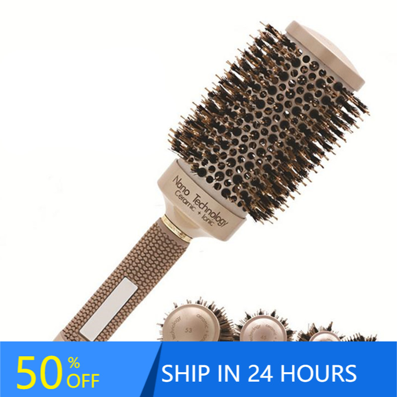 4 Sizes Professional Salon Styling Tools Round Hair Comb Hairdressing Curling Hair Brushes Comb Ceramic Iron Barrel Comb 20#826