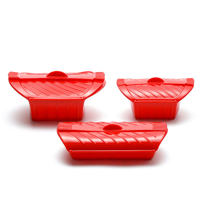 3PCS Creative Kitchen Gadgets Food Grade Silicone Steamed Fish Bowl Heat Resistant Microwave Oven Silicone Steamer with Lid