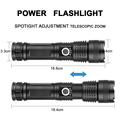 ZHIYU Adjustable Flashlight Strong Light Rechargeable LED Torch 18650 or 26650 Battery Zoom 5 Modes Outdoor Camping Emergency preview-3