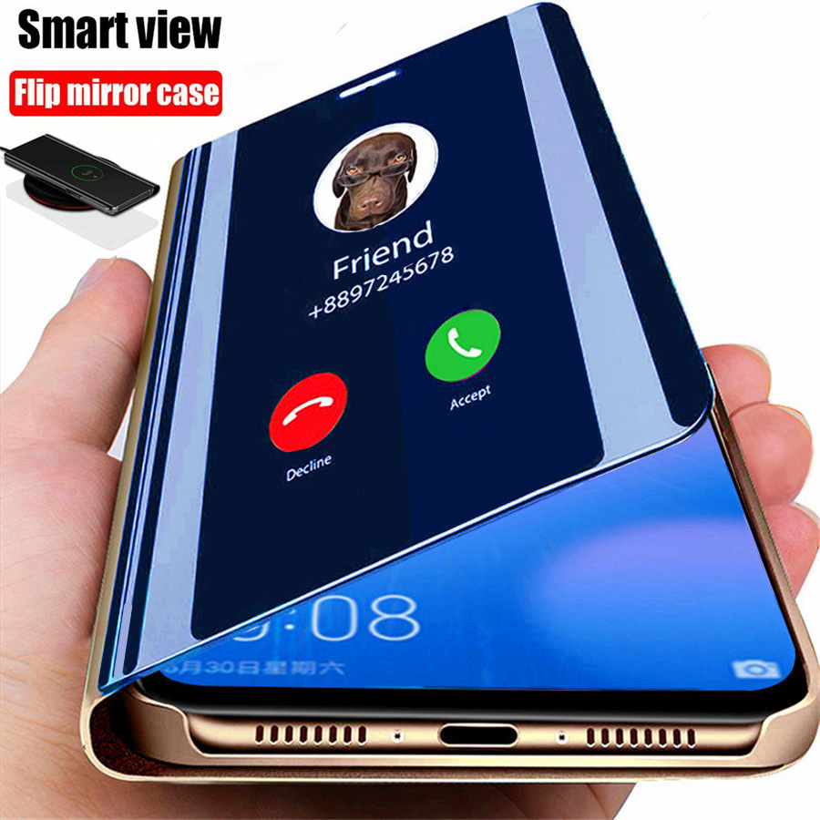 Smart Mirror Flip Phone Case For Samsung Galaxy A12 A52 S21 S10 S9 S8 S20 FE Ultra Note 20 10 Lite 9 8 Plus S7 S10e Edge Cover