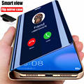 Smart Mirror Flip Phone Case For Samsung Galaxy A12 A52 S21 S10 S9 S8 S20 FE Ultra Note 20 10 Lite 9 8 Plus S7 S10e Edge Cover preview-1