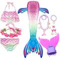 Swimming Mermaid Tail Kids Girls Costume Cosplay Children Swimsuit Fantasy Beach Bikini Can Add Monofin Fin preview-2