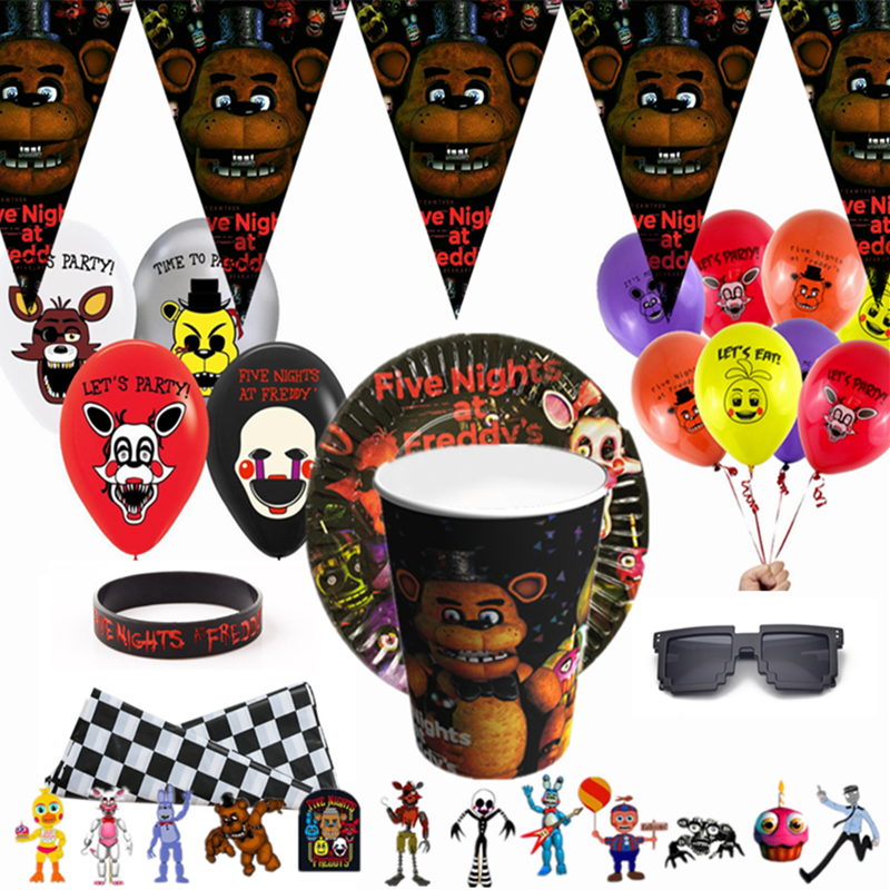 Game FNAF Funtime Freddy birthday party Disposable decorations Party Tableware Set Paper Cups paper plates kids party supplies