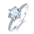Fashion Luxury Crystal Engagement Ring for Women AAA White Cubic Zirconia Silver color Rings 2020 Wedding Trend Female Jewerly preview-6