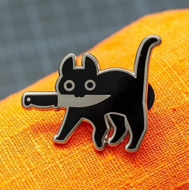 Cartoon Creative Black Cat Modeling Pop-Enamel Pin Lapel Badges Brooch Funny Fashion Jewelry