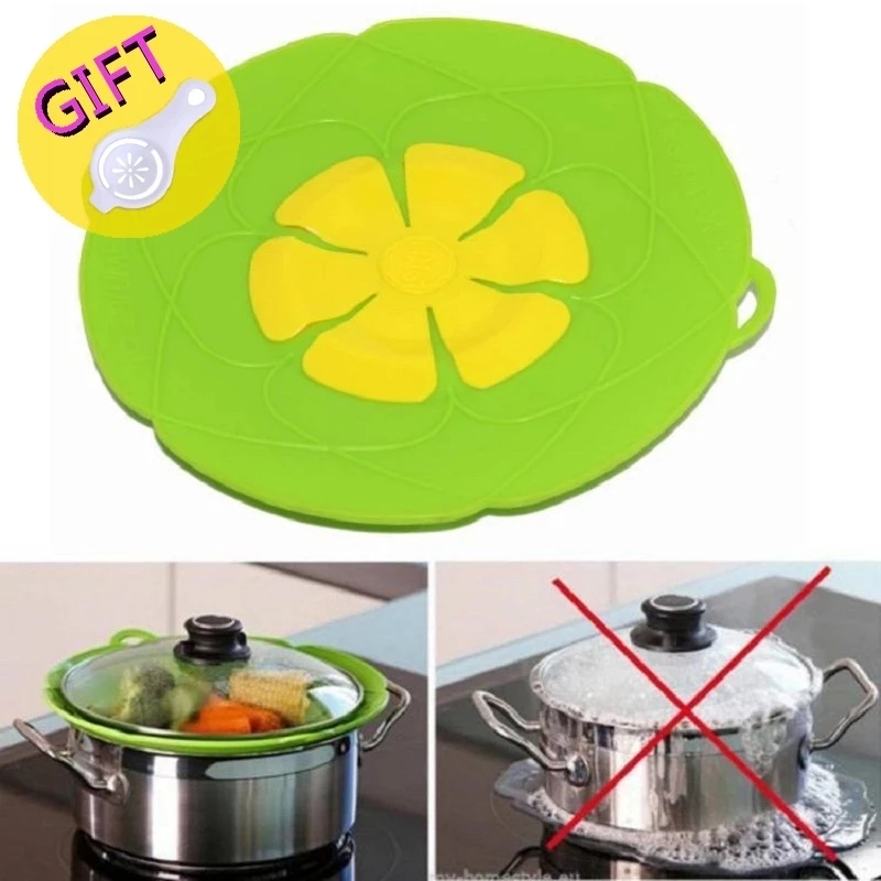 Silicone Lids Cookware Spill Stopper Silicone Anti-Overflow Plugging Pot Lid Kitchen Accessories Pots Cookware Household