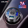 USLION 4 Ports USB Car Charge 48W Quick 7A Mini Fast Charging For iPhone 11 Xiaomi Huawei Mobile Phone Charger Adapter in Car preview-1