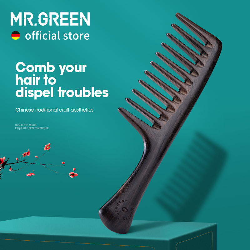 MR.GREEN Natural Wood Comb Wide Tooth Wet  Hair Combs Anti-Static Styling Comb for Long Hair Head acupuncture point massage
