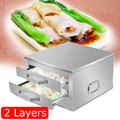 Stainless Steel Rice Noodle Roll Steamed Bun Steam Machine Vermicelli Roll Steaming Furnace Steamer Home Use 2/1 layer preview-1