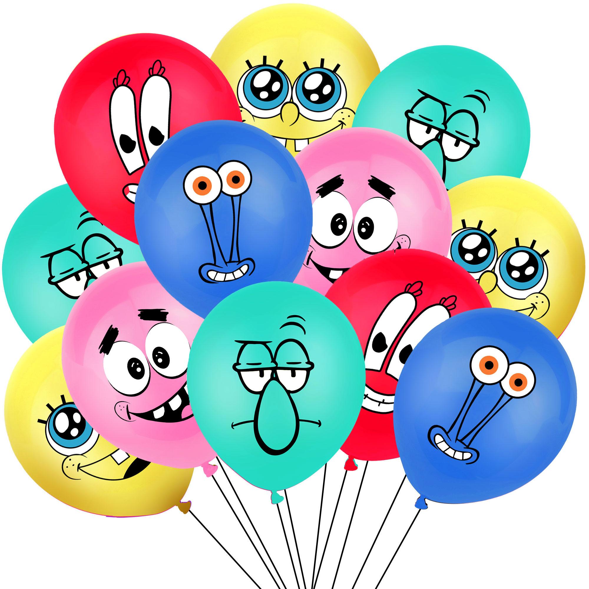 10Pcs Sponge Party Supplies Boy or Girl Bob Latex Balloons Happy Birthday Cartoon Theme Decoration Kids Ballon Party Decor