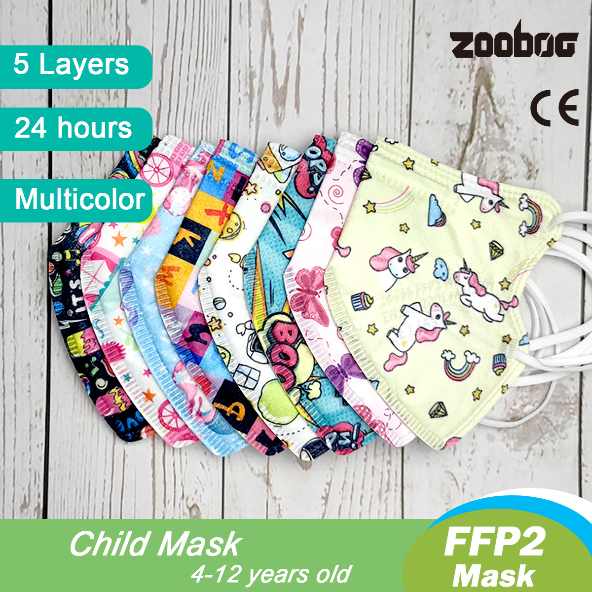 Zooboo ffp2 children Kids KN95 Mask   Fit 4-12 Years Mascarillas 3D Printed Cartoon kn95 Dust Mask ffp2mask  FAST Delivery