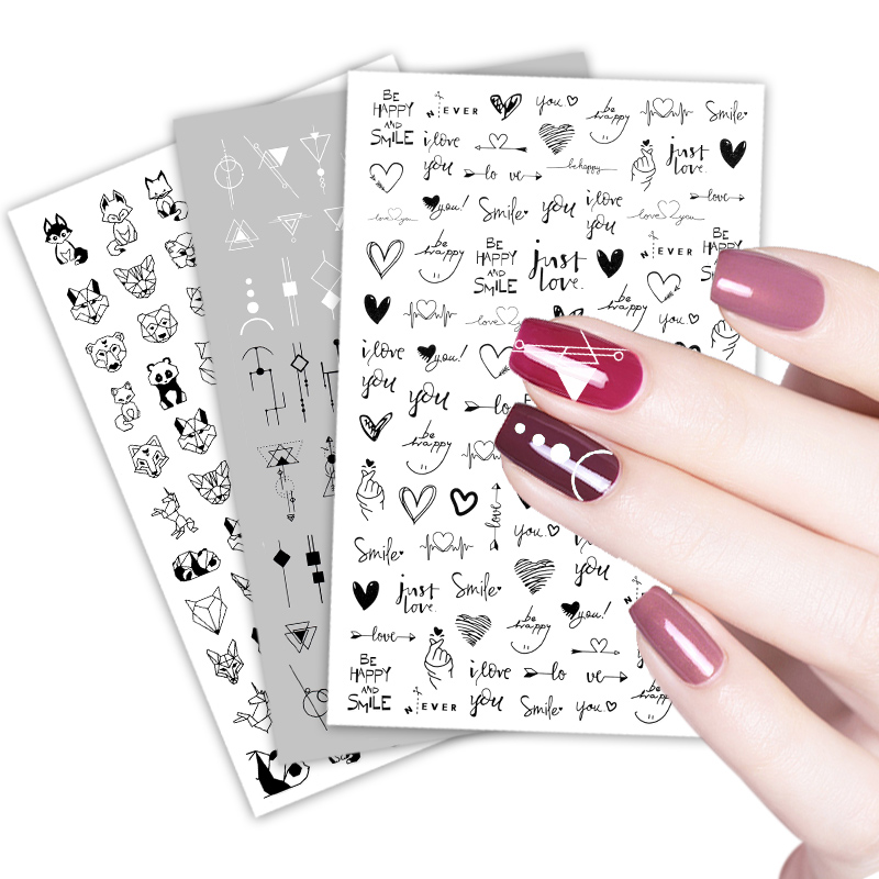 3D Flower Nail Stickers Women Face Sketch Abstract Butterfly Image Sexy Girl Nail Art Decor Sliders Manicure Stickers for Nails