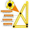 Professional Template Tool Angle Ruler Measuring Protractor  Activity Four-fold Ruler With Metric Inch Scale Gauging Tools preview-2
