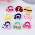 10Pcs Polka Dots Bow Hair Ring Rope Elastic Hair Rubber Bands Hair Accessories for Girls Hair Tie Ponytail Holder Headdress preview-4